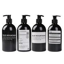 Бутылка для шампуня для ванной 500 мл, черные пластиковые бутылки для хранения, портативная бутылка для душа, пресс-бутылка, скандинавский органайзер, банка