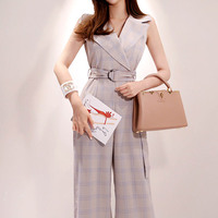 Women Sleeveless Notched Sashes Office Cloth Work Wide Leg Plaid Jumpsuit