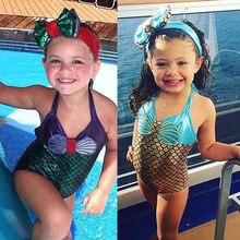 2017 Little Girls One-piece Mermaid Halter Swimsuit Baby Girl Cartoon Beachwear Bathing Suit Swimwear Swimmers Costume
