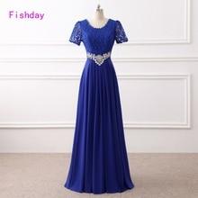 Long Red Lace Chiffon Royal Blue Formal Evening Dresses Women Crystal Elegant Cheap Vestido Longo Mother