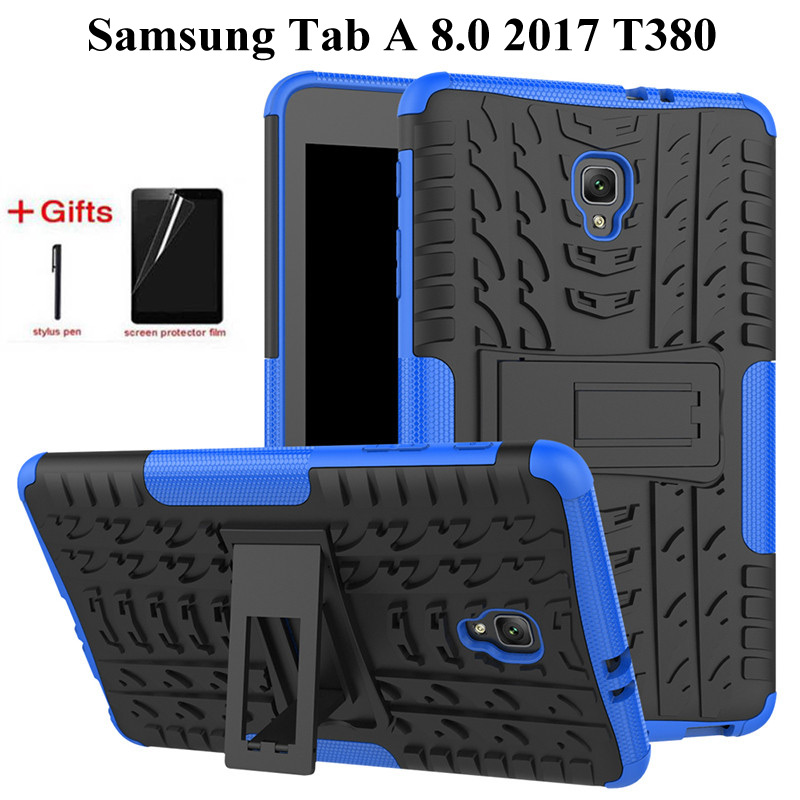 Heavy Duty 2 in1 Hybrid Anti-knock Rugged Durable Shockproof Case For Samsung Galaxy Tab A 8.0 2017 T380 T385 case+film+penHeavy Duty 2 in1 Hybrid Anti-knock Rugged Durable Shockproof Case For Samsung Galaxy Tab A 8.0 2017 T380 T385 case+film+pen