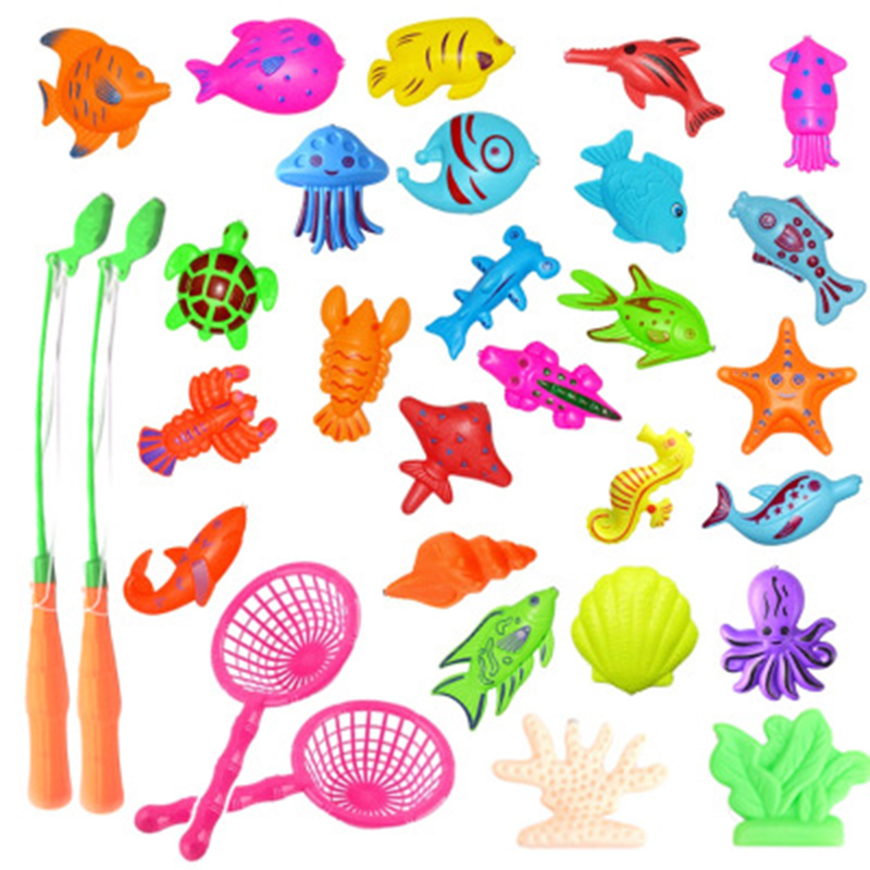 52pcs/lot With Inflatable Pool Magnetic Fishing Toy Rod Net Set For Kids Child Model Play Fishing Games Outdoor Toys