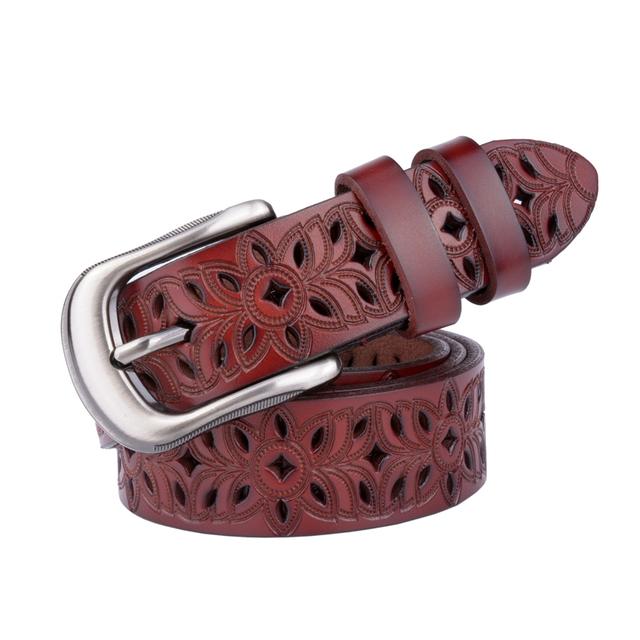 Women's Leather Multilength Flower Textured Belt