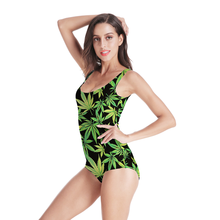 цена на Summer Sexy High Cut Ladies Girl Swimwear Bodysuit Leaf 3D Prints One Piece Women Swimsuit Sport Bathing Suits Push Up Swimwear