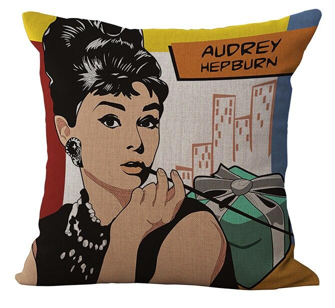 Audrey Hepburn Pop Art Laugh Massager Pillow Decorative