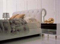 Современный дизайн реального натуральная кожа кровать/мягкая кровать/двуспальная кровать king/queen size мебель для спальни с кристаллами перлам