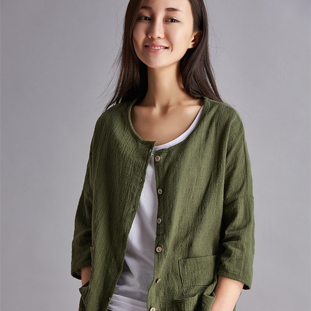 8ac476d139e 2015 New Simple Women Linen Cardigan Blouses Women Hemp Flax Loose Causal  Solid Shirt Blouse Famale Vintage Long Sleeves Tops
