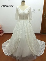 New Real Pictures Ball Gown Half Sleeve Bridal Dress Muslim Plus Size Lace Wedding Dresses 2019