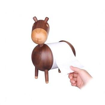 Deluxe Tissue Rolling Holder Donkey Handmade Walnut Wood Decoration Art Craft Birthday Gift Wooden Cartoon Toy
