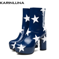 Karinluna Brand design 2019 Large Size 34 43 genuine leather Women's Shoes Ankle Boots Fashion High Heels stars platform Boots