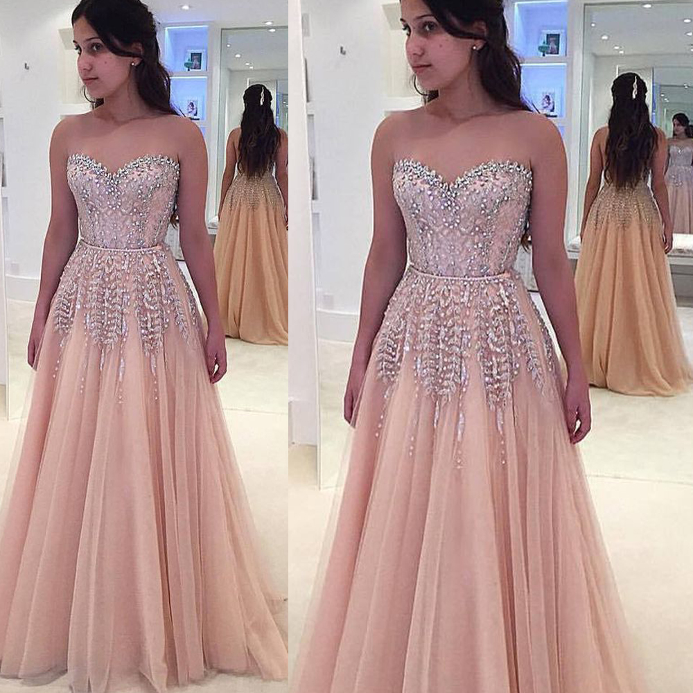 crystal   prom     dresses   sweetheart neckline beaded tulle long pink evening   dresses   gowns 2019