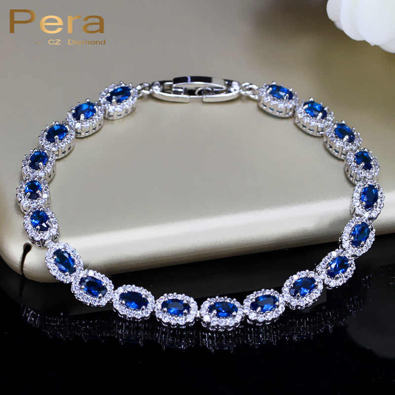 Fashion Women Sterling Silver 925 Jewelry Summer Design Dark Blue Cubic Zirconia Crystal Marquise Bracelet For Mother Day B070