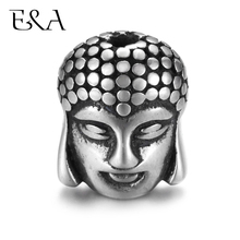 Stainless Steel Beads Double Faced Buddha Charms Hole 2mm for Jewelry Making Supplies Bracelet Spacer Metal Bead Accessories fenlu fl 083 double faced buddha head shaped bracelet silver