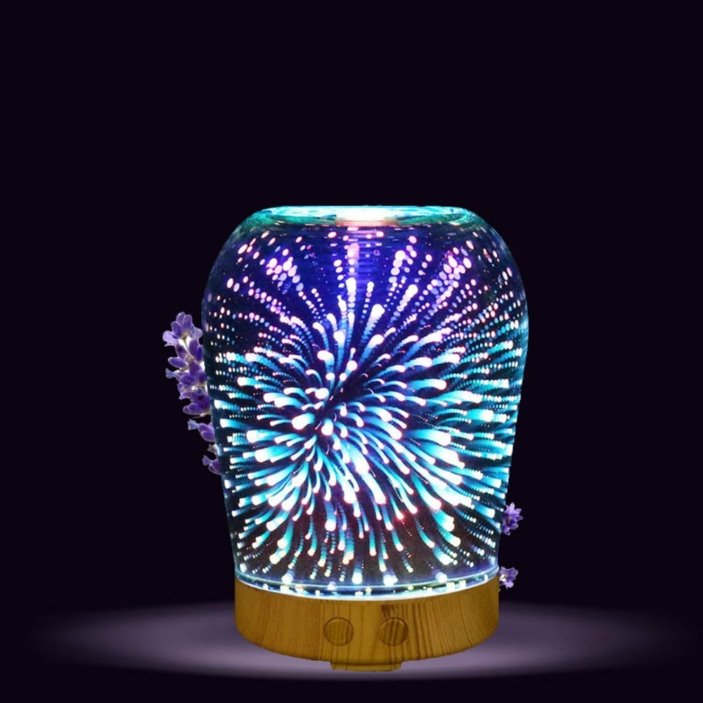 Essential Oil Ultrasonic Cool Mist Humidifier 3D Glass Fireworks 7 Color Change Night Light Aromatherapy Quiet For Home Office