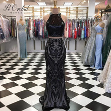 PEORCHID Bling Black Two Piece Sequin Prom Dresses Mermaid Long Elegant Graduation Dress Floor-length Evening Party Gowns 2019