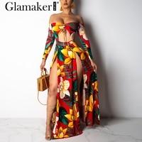 Glamaker Off shoulder floral sexy maxi dress Women two piece suit bodycon boho dress Elegant long sleeve summer sexy beach dress