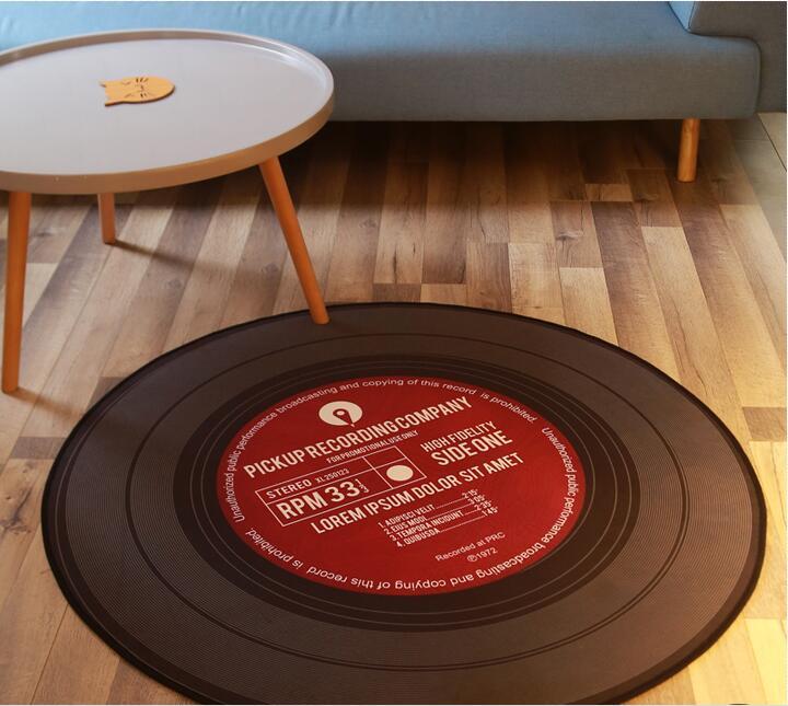 Colle noire Record chaise de bureau coussin pour tapis de sol de salon tapis de porte tapis de Table chambre d'enfant patins anti-dérapants tapis CD