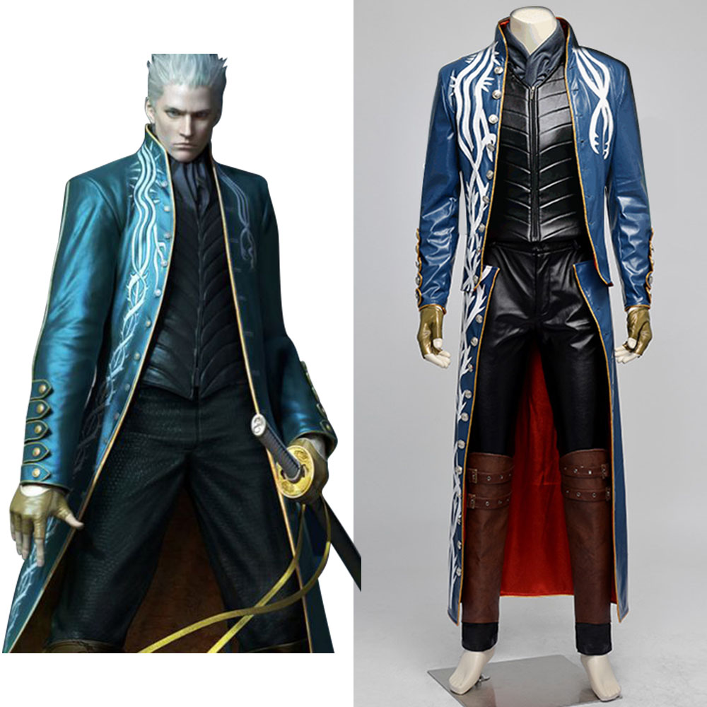 Devil May Cry 3 cosplay Game Vergil Costume Full Set uniform cosplay Halloween Christmas Carnival costume for adult men women