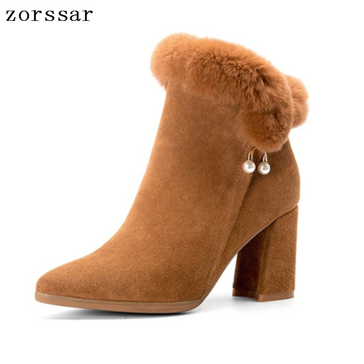 {Zorssar} 2019 Pointed toe High Heels Women Ankle Boots Suede Leather Women Snow Boots Winter Short Plush Inside Female booties 2017 new arrivals hot selling pointed toe high heels short boots black suede leather rivet ankle booties women shoes free ship
