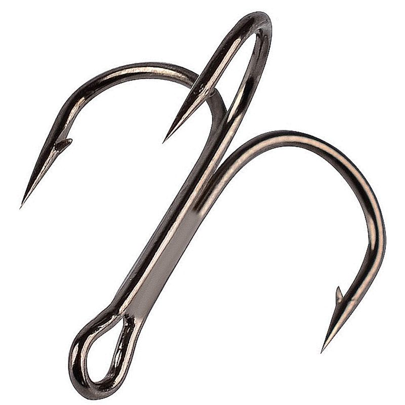 10Pcs/lot Fishing Hooks High Carbon Steel  Material Treble Black Fishing Hook  2# 4# 6# 8# 10 # Fishing Tackle Round Bend