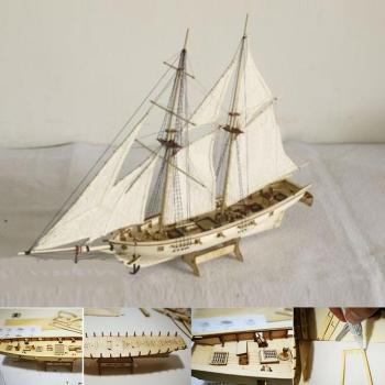 1:100 Scale Mini Wooden Sailboat Ship Kit Boat Toy Gift DIY Model Decoration Wooden assembly Sailing Boats Children Toys Gift luckk 80cm diy danmark assembling building kits wooden model ships exquisite home interior decoration crafts sailboat toys gift