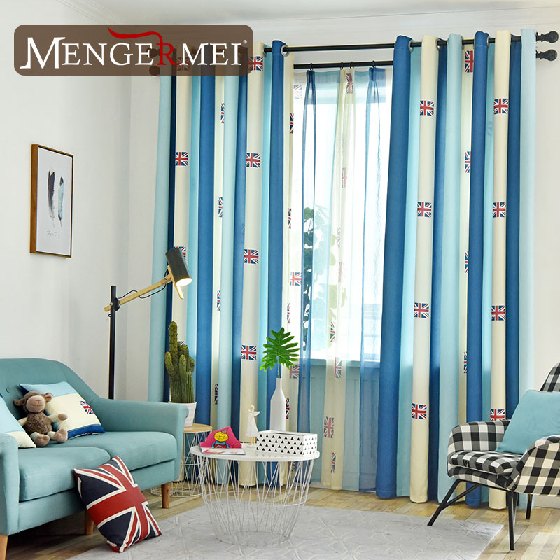 US $6.51 |Cartoon Flag Curtains For Living Room Simple Blue White Curtain  for Bedroom Modern for Kids Room Drapes 210-in Curtains from Home & Garden  ...