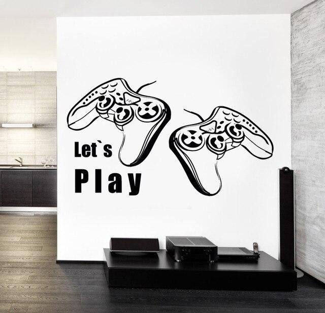 Joysticks Vinyl Decal Wall Stickers Letu0027s Play Quote Gaming Gameru0027s  Playroom DIY Decor Teens Bedroom Wallpaper