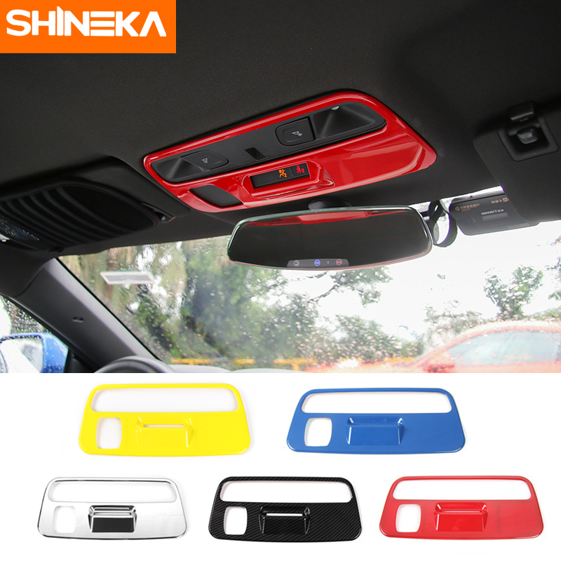 SHINEKA ABS Cabin Light Cover Reading Light Lamp Decorative Trim Panel Frame for Chevrolet Camaro 2016 2017 Car Styling shineka abs interior kits copilot passenger side panel decoration trim carbon fibre style for 6th gen chevrolet camaro 2017
