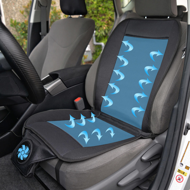 12V Summer Cooling Car Seat Cushion Electric Breathable Cover Black
