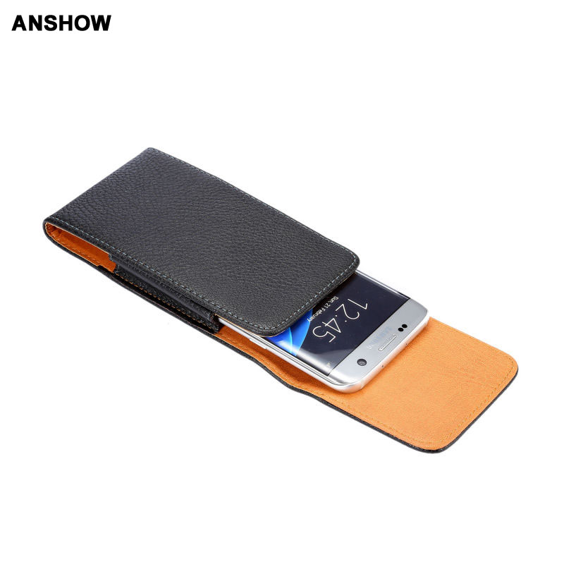 Vertical Hip Leechee Leather For Galaxy S8 S7 Edge Cases Holster Buckle Flip PU Pouch Belt