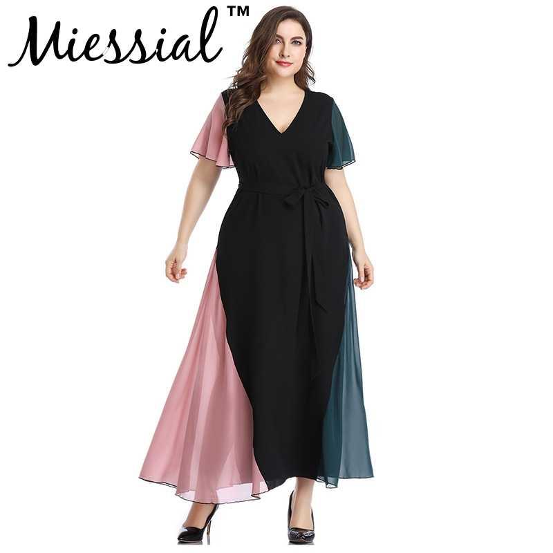 Miessial elegancka czarna głębokie v neck casual sukienka dla kobiet sexy duży rozmiar sukienka plażowa 5XL kobieta winter club długa sukienka wakacje