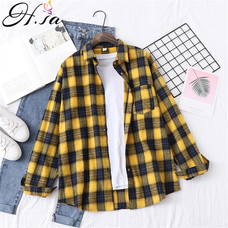 H.SA Women Casual Plaid   Shirts   Loose Style ladies tops Yellow   Blouses   2019 Tunic Spring Oversized   Blouses   and   Shirt