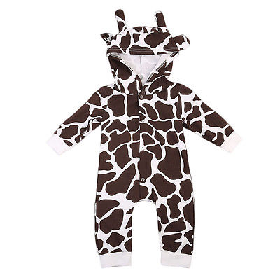 New Toddler Infant Baby Girls Boys Ear Cow Print Romper Hooded Jumpsuit Playsuit Outfits Clothes