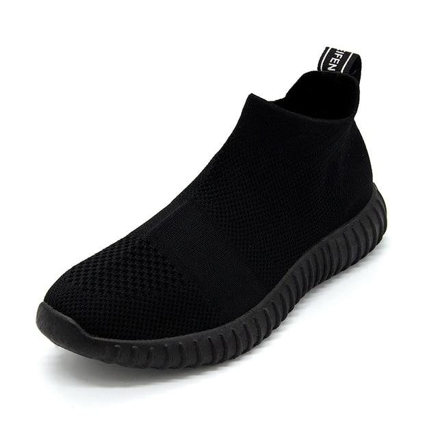 Zapatos de fondo suave para mujer, zapatillas de deporte transpirables de malla antideslizantes informales a la moda