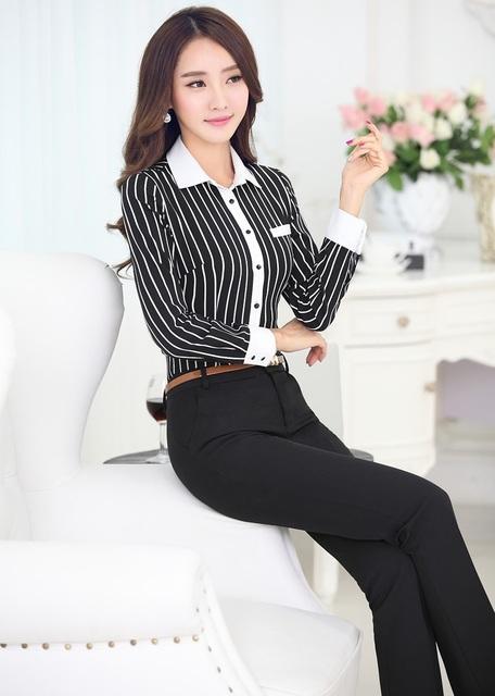 Novo 2015 Primavera Outono Magro Moda Estilo Ternos de Negócio Com Tops E Calças Uniforme Escritório Senhoras Camisas Femininas Calças Conjuntos
