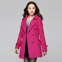 2015ladie winter coat trench coat women Temperament pink long wool swing overcoat loose feminino longo casual outwear plus size