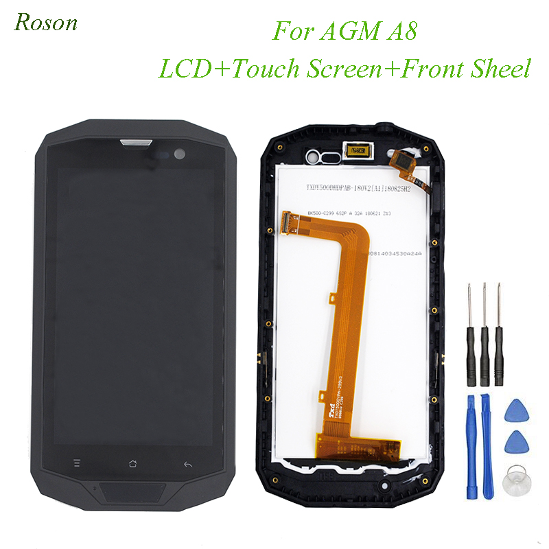 Roson Original AGM A8 LCD Display and Touch Screen 5.0 Digitizer With Frame Assembly Repair Parts for AGM A8Roson Original AGM A8 LCD Display and Touch Screen 5.0 Digitizer With Frame Assembly Repair Parts for AGM A8