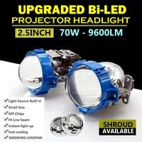 2.5 inch Universal Car 70W 9600LM Bi LED Projector Headlight Lens Hi/Lo Beam H4 H7 Car LED Headlight Conversion Kits