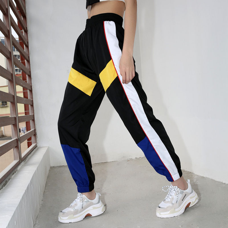 4Sweetown Woman Pencil Pants Casual Loose Pantalon Femme Spliced Panelled Joggers Women Woven Elastic High Waist Ladies Trousers