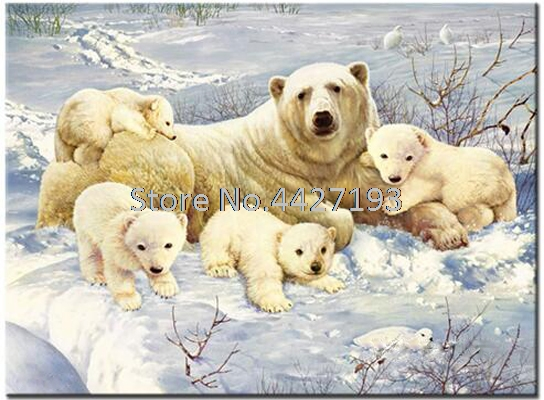 Polar bear full diamond embroidery bead patterns square painting animal Mosaic rhinestones needlework