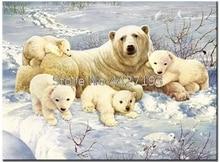 Polar bear full diamond embroidery bead patterns square painting animal Mosaic rhinestones needlework