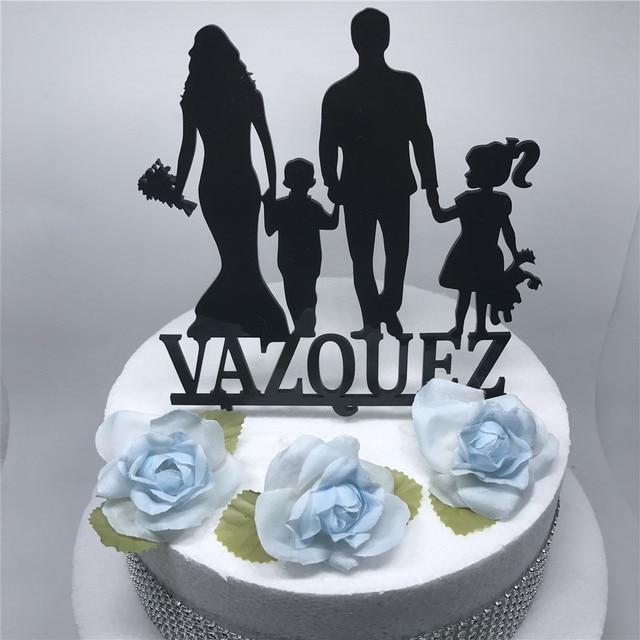wedding cake toppers. keluarga pribadi wedding cake topper dengan anak gadis, pengantin siluet unik dekorasi, lucu kue toppers