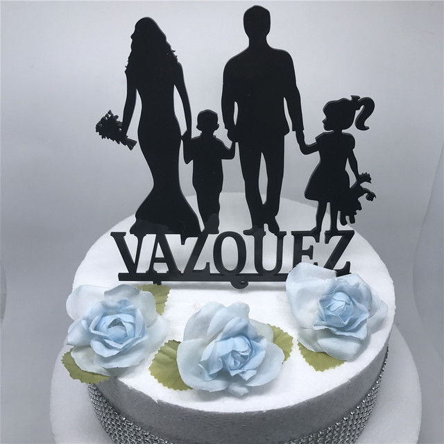 unique wedding cake toppers  raquo  Personalized family Wedding Cake topper with boy girl  bride and     Personalized family Wedding Cake topper with boy girl  bride and groom  silhouette unique wedding cake