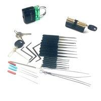 Slotenmaker Supply Training Set 2 stuks Transparante Lock met Verwijderen Pick Gereedschap  5 pcs Tension Tool  grote Praktijk Gift voor Mannen-in Slotenmakerbenodigdheden van Gereedschap op