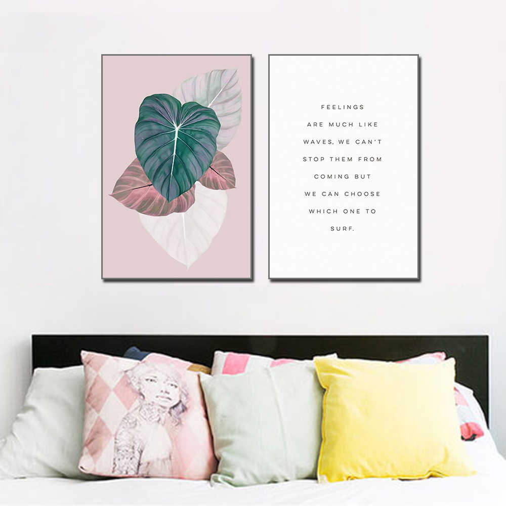 Canvas Plant Leaves And Text Home Decoration Mural Simple Art Painting Wall Art Posters And Prints Wall Pictures For Bedroom