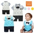 Baby boy romper autumn infant gentleman college style romper toddler kid's badge jumpsuits bebe romper baby costume clothing