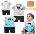 Romper do bebê menino outono infantil cavalheiro romper estilo college crachá jumpsuits bebe romper da criança do bebê traje roupas