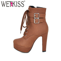 WETKISS Super Big Size 32 48 Thick High Heels Shoes Buckle Strap Lace Up Short Boots