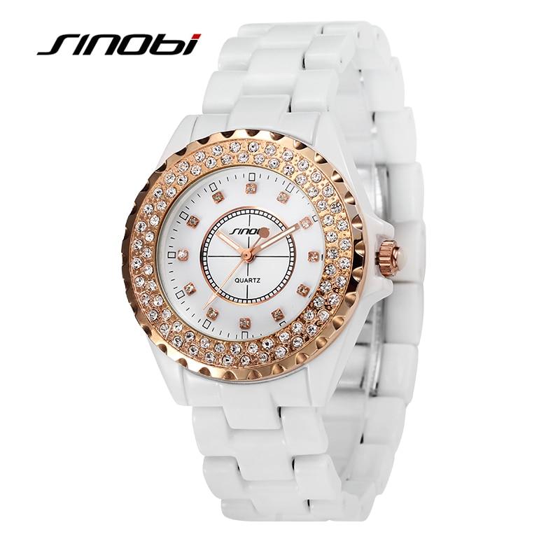 SINOBI Luxury Brand Women Dress Watches Full Steel Quartz Watch Diamonds Gold Watches For Womens Watches Hour Relogio Feminino