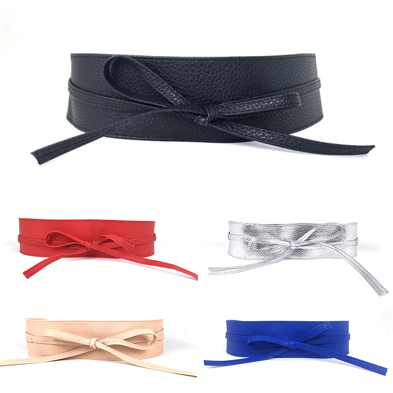 Hot-selling Belts 1PC New Graceful Leather Solid Women Dress Bowknot Wrap High Quality Wide PU Two Circlrs Adult Discounted